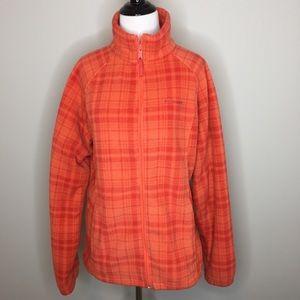Columbia Orange Fleece Plaid Zip Jacket - Large